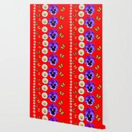 PURPLE PANSIES, WHITE DAISIES, MONARCH BUTTERFLIES RED ART Wallpaper