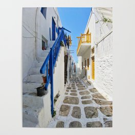 Series of stairs in Mykonos Poster