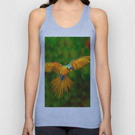 Flying Golden Blue Macaw Parrot Green  Art Unisex Tank Top