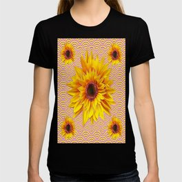 Yellow Sunflowers  Design  Pink Patterned Art Abstract  T-shirt