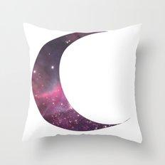 cosmic crescent moon Throw Pillow