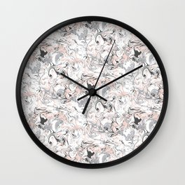 Marbleized - Pink Wall Clock