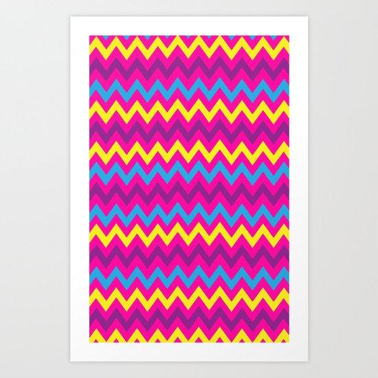 bright chevron Art Print