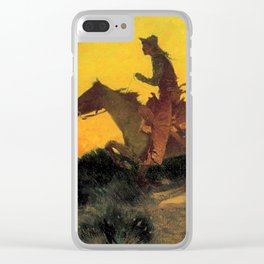 """Frederic Remington Western Art """"Against the Sunset"""" Clear iPhone Case"""