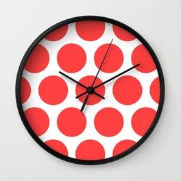 Large Polka Dots: Coral Pink Wall Clock