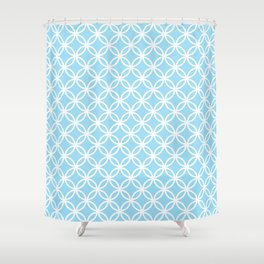 Blue and white interlocking circles Shower Curtain