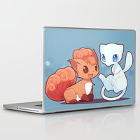 mew Laptop & iPad Skins featuring Chibi Vulpix and Mew by Yamilett Pimentel