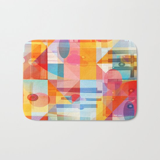Whimsical Sunny Geometry Bath Mat