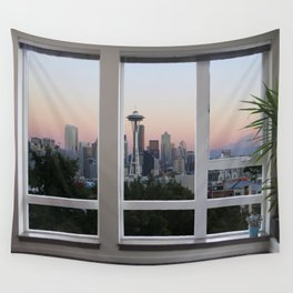 Seattle Skyline Window View Wall Tapestry