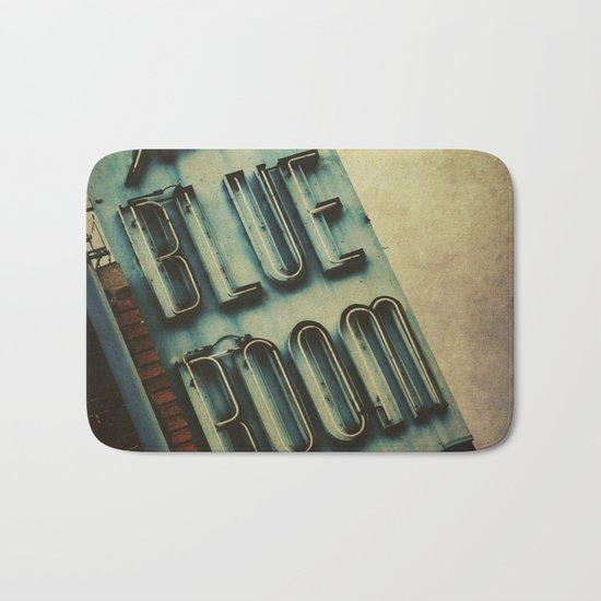 Blue Room Neon Sign Bath Mat