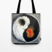 yin yang Tote Bags featuring Yin Yang by Liz Moran