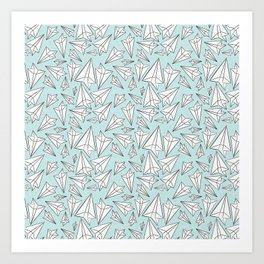 Paper Airplanes Mint Art Print