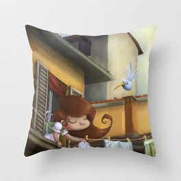 """hanging books"" Throw Pillow"
