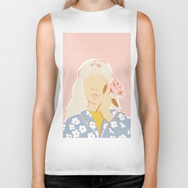 Girl and her Flower Biker Tank