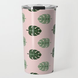 Tropical leaves Monstera deliciosa green and pink #monstera #tropical #leaves #floral #homedecor Travel Mug