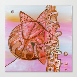Something Jurassic In Pink & Brown Canvas Print