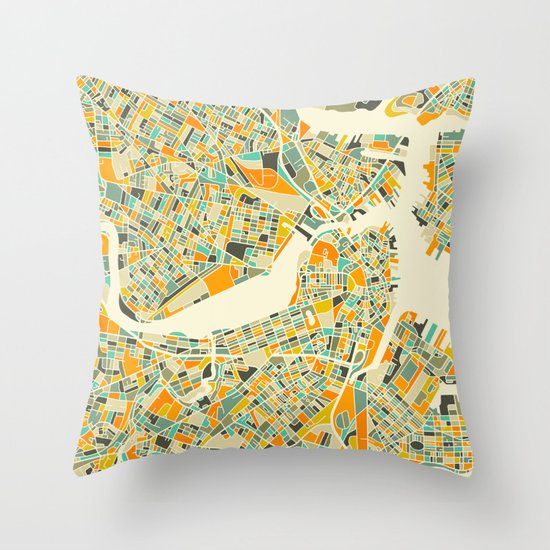 Boston Map Throw Pillow