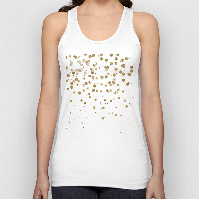 Pretty modern girly faux gold glitter confetti ombre illustration Unisex Tanktop