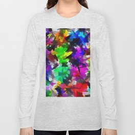 psychedelic splash painting abstract texture in pink blue green yellow red black Long Sleeve T-shirt