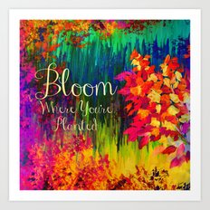 BLOOM WHERE YOU'RE PLANTED Floral Garden Typography Colorful Rainbow Abstract Flowers Inspiration Art Print