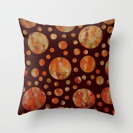 Orange Circles Against Dark Red Throw Pillow