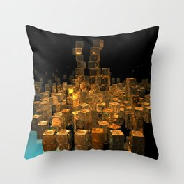 Stacker In Gold POV Ray Tracing Throw Pillow