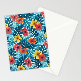 Tropical Hibiscus Pattern Summer Stationery Cards