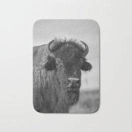 Buffalo Stance - Bison Portrait in Black and White Bath Mat