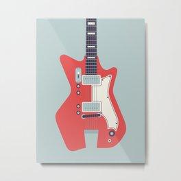 Retro 60s Guitar - Grey Metal Print
