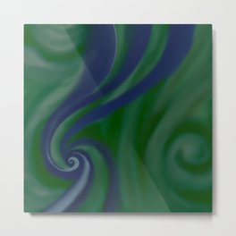 BLUE and green SWIRL Metal Print