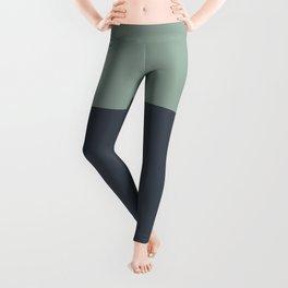 Navy Gray Blue Green Sage Minimalist Color Block Leggings