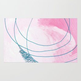 The Dance: a bright, colorful abstract piece in pink, blue, and white Rug