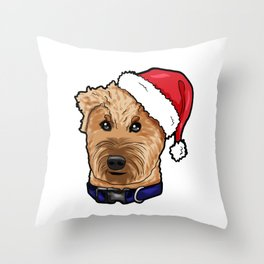 Irish Soft Coated Wheaten Terrier Dog Christmas Hat Throw Pillow