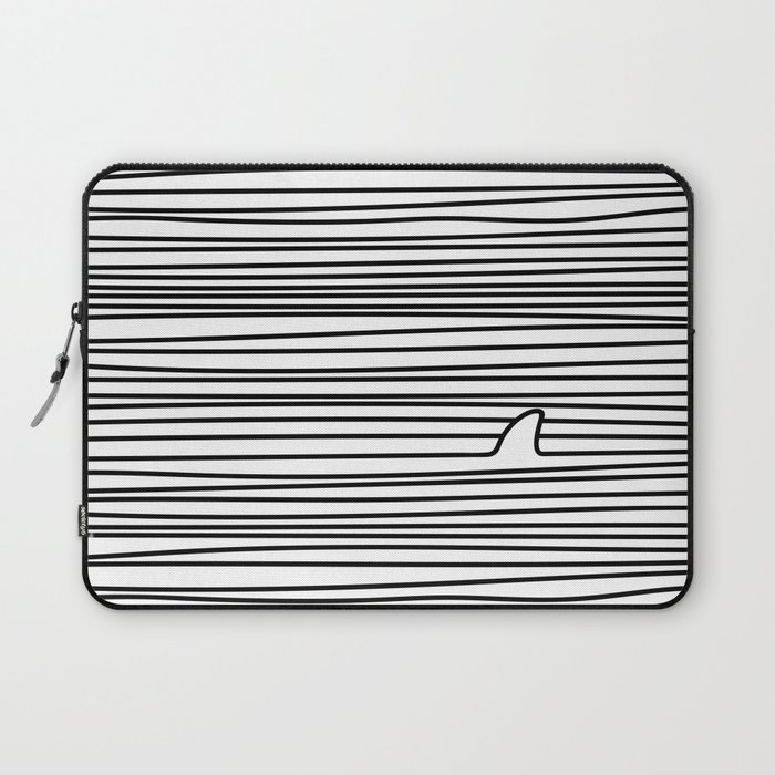 Minimal Line Drawing Simple Unique Shark Fin Gift Laptop Sleeve