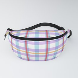 Gridlines of purple, blue and red on white Fanny Pack