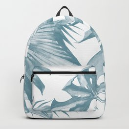 Island Dream Teal Blue Leaves Backpack