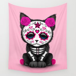 Cute Pink Day of the Dead Kitten Cat Wall Tapestry