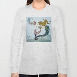 Jellyfish and Mermaid Long Sleeve T-shirt