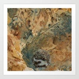 Hedgehog on leaves Art Print
