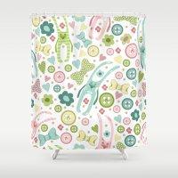 rabbits Shower Curtains featuring Funny rabbits by Julia Badeeva