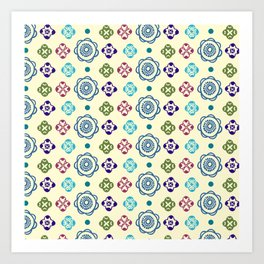 Retro Whimsical Floral Pattern Art Print