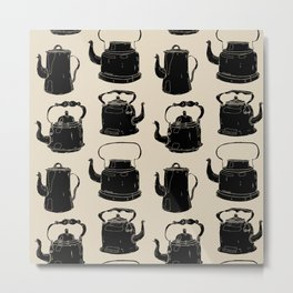 Hand drawn vintage teapots Metal Print