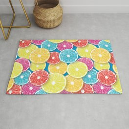 Citrus fruit slices pop art  Rug