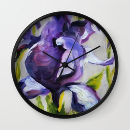 Flower, purple iris Wall Clock