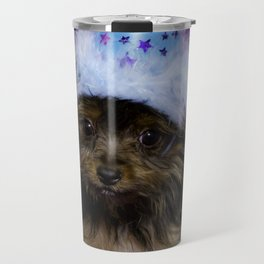 Tiny Yorkshire Terrier Puppy in a Party Hat with Purple Background Travel Mug