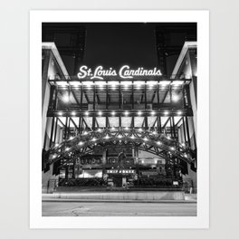 Saint Louis Busch Stadium and Stan Musial Statue - Black and White Art Print