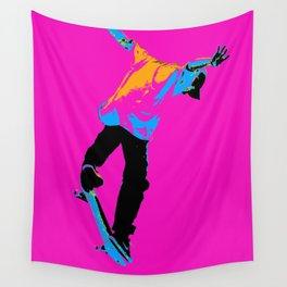 """Flipping the Deck"" Skateboarding Stunt Wall Tapestry"