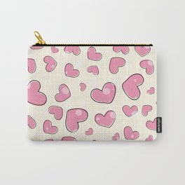 Little hearts in a yellow background Carry-All Pouch