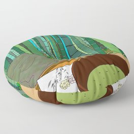 Bamboo Temple in Japan Floor Pillow