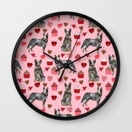 Australian Cattle Dog blue heeler valentines day cupcakes hearts love dog breed Wall Clock